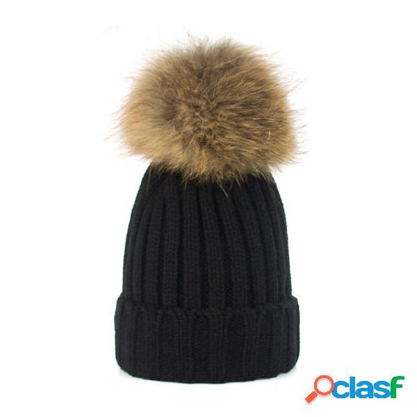 Chapéus de gorro quente maré senhora bonito ao ar livre malha quente lã bola chapéu de lã