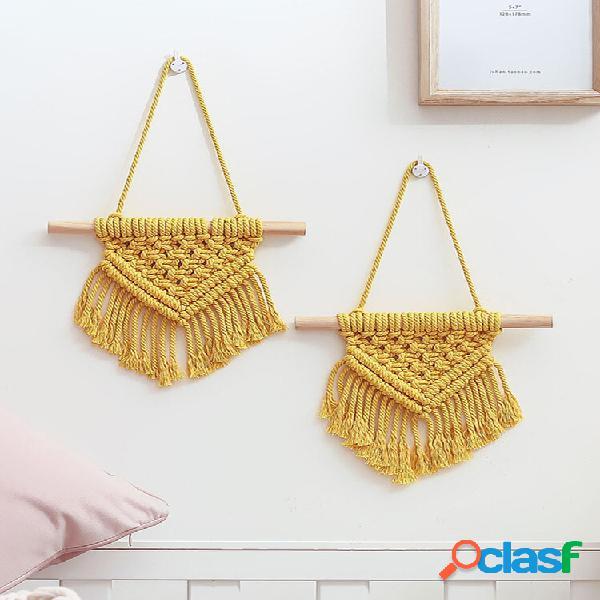 1 pc nordic macrame mini tapeçaria de tapeçaria decoração bohemian tassel chic algodão decoração de casa decoração de ca