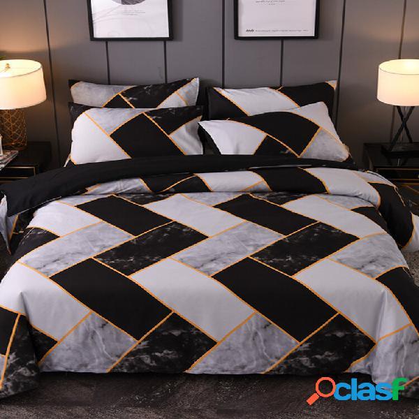 2/3 pcs marble preto e branco geométrico padrão conjunto de cobertura comfy conjunto de cama confortável travesseiro de