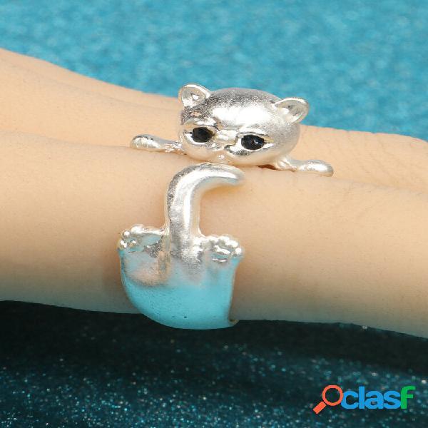 Anéis ajustáveis de metal geométrico moderno para gatos anel de abertura para gatos