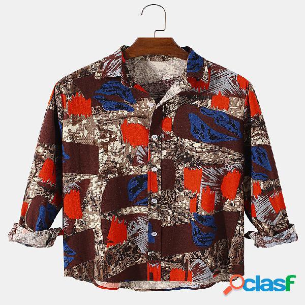 Camisas masculinas de linho de algodão com impressão de manga comprida casual ajuste curvo