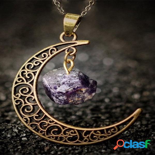 Colar de cristal de pedra natural de metal vintage geométrico oco lua pingente colar de corrente