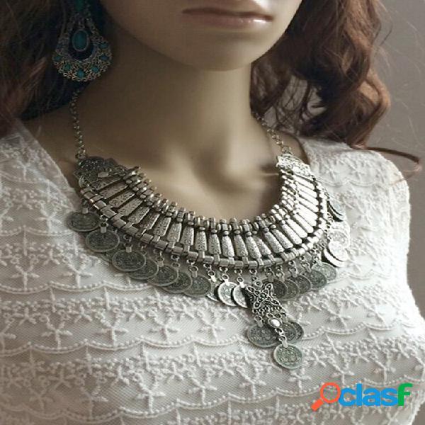 Colar vintage de metal entalhado com borla de moeda antiga multicamadas pingente colar feminino