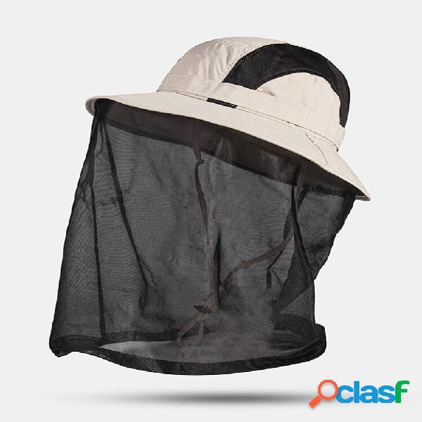 Protetor solar externo masculino de secagem rápida para pescoço uv balde casual de proteção chapéu com capa de malha rem