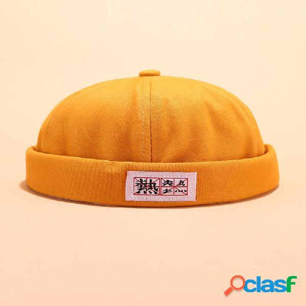 Chapéus masculinos e femininos de algodão cor sólida sem aba caveira bonés com letras chinesas