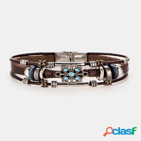 Pulseira bohemian mulyilayer pulseira de couro com flor de liga e pulseira joias vintage para mulheres