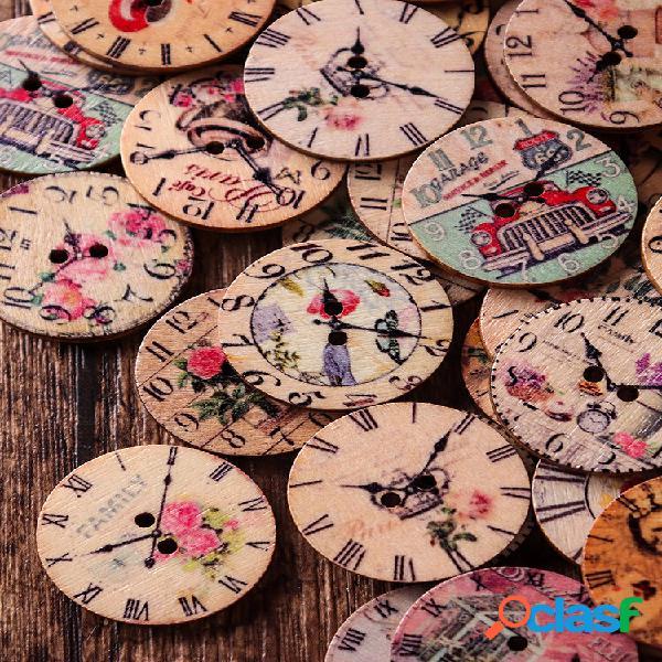"""50 unidades 25 mm / 0,98 """"redondo retro relógio costura de madeira botões material de artesanato faça você mesmo com rap"""