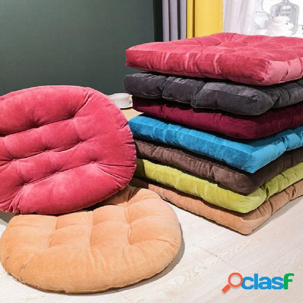 55 * 55 engrossar cor sólida veludo quadrado redondo almofada de assento tatami pufe de meditação soft almofada de assen