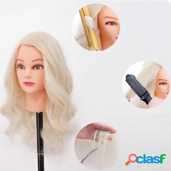 70% humano cabelo cabelodressing training head model disc cabelo trançado permed curl cabelo cabelodresser practice mane