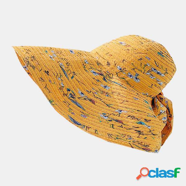 Balde de proteção solar feminino dacron floral padrão com impressão de borda grande chapéu