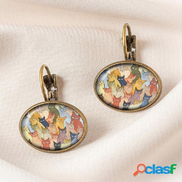 Geométrico redondo vidro multicolorido gato estampado feminino pingente brincos joias