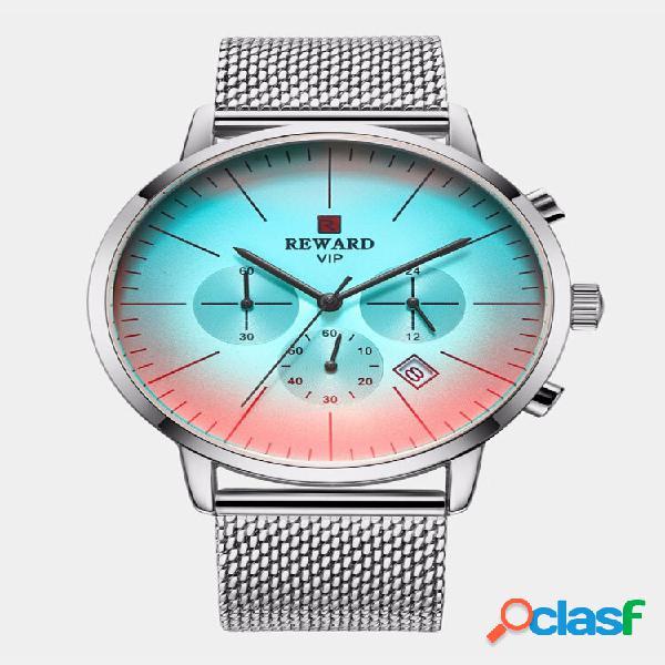 Moda gradient dial men ver light luxury waterproof cronógrafo aço inoxidável quartzo ver