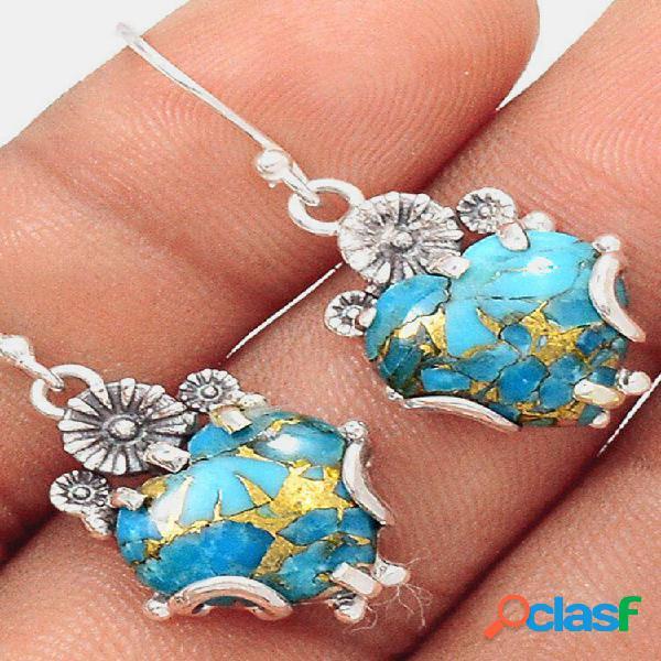 Pêssego geométrico vintage coração pingente brincos temperamento metal turquesa brincos