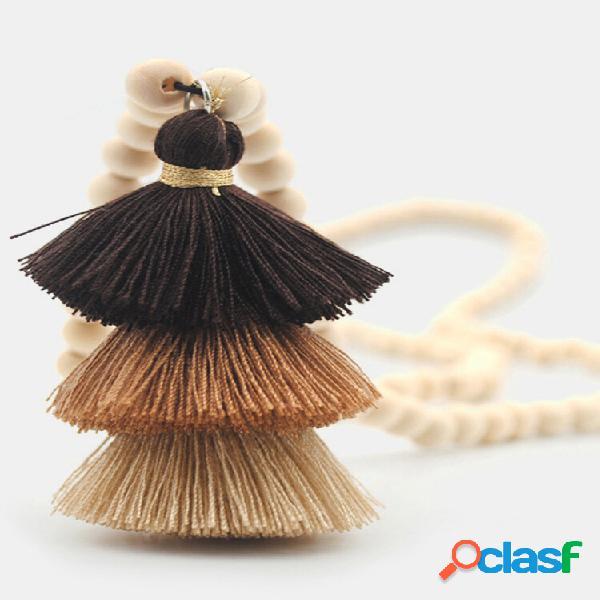 Borla estereoscópica de três camadas cor bohemian hit pingente colar de corrente de suéter longo com contas de madeira f