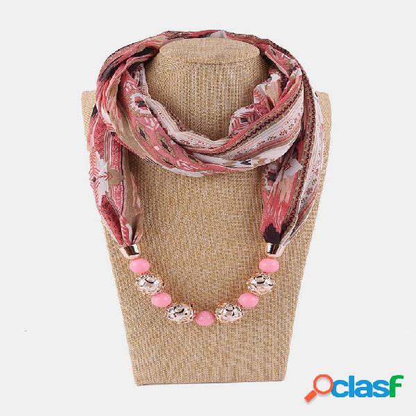Colar de cachecol feminino de chiffon vintage com miçangas pingente treliça de flores padrão cachecol de seda