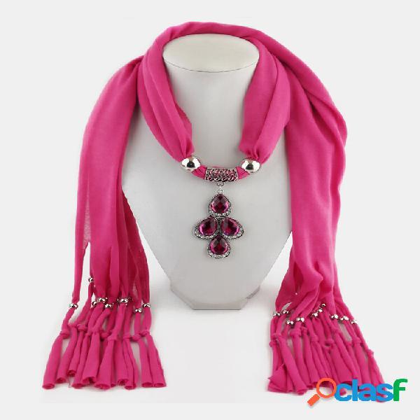Colar de lenço feminino vintage cor sólida folha pingente colar xale
