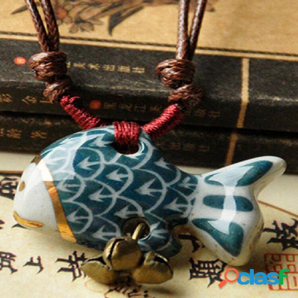 Colar estereoscópico vintage geométrico pingente colar étnico artesanal cerâmico colar longo ajustável