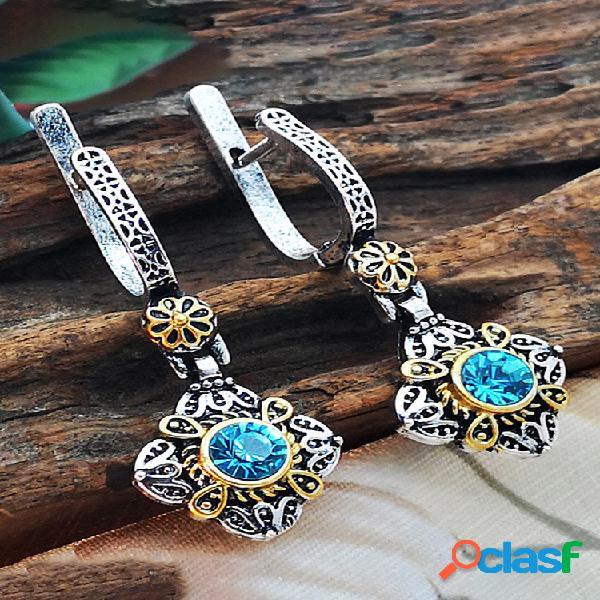 Strass vintage esculpidas brincos gema de metal geométrico losango azul pingente brincos