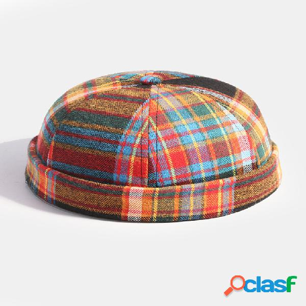 Collrown men & women multicolor contrast color patchwork plaids padrão gorro sem aba casual landlord chapéu caveira chap