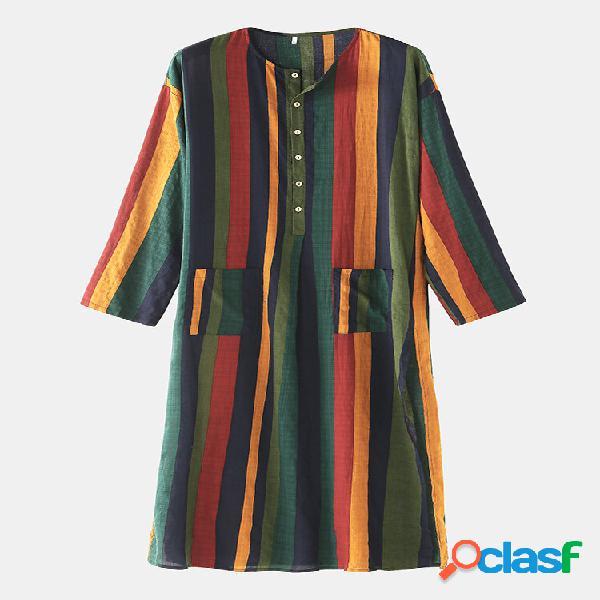 Linho de algodão listrado multicolorido manga comprida fenda fina bainha design robes casuais com bolsos na cintura