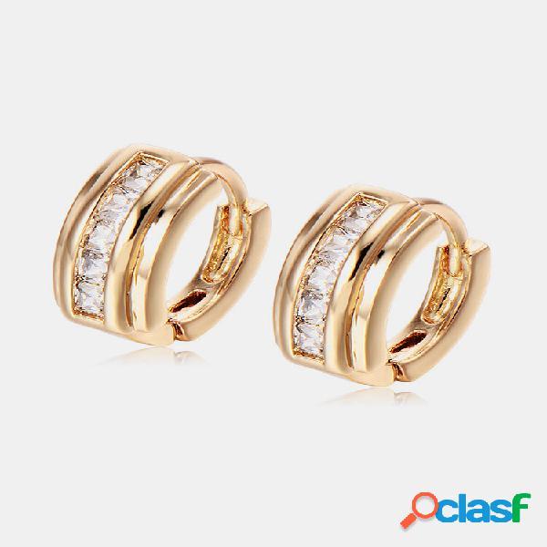 Moda orelha stud brincos banhado a ouro branco ziron geométrico brincos joias elegantes para mulheres