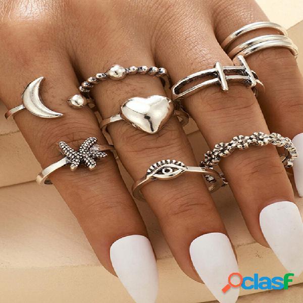 Anéis vintage geométricos de metal estrela do mar pêssego coração anéis ajustáveis de lua