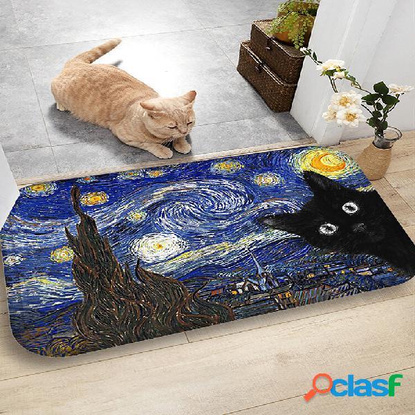 Cat padrão tapetes de flanela de absorção de água tapete de piso antiderrapante para banheiro tapete de porta
