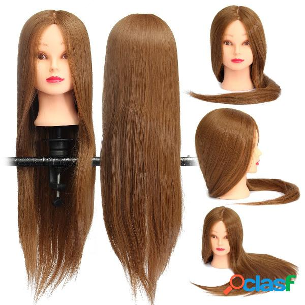 18 inch brown long straight hair training modelo mannequin practice head salon cutting