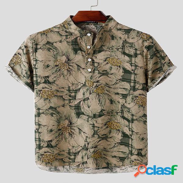 Estampa floral vintage masculina 100% algodão casual cavalheiro henley camisa