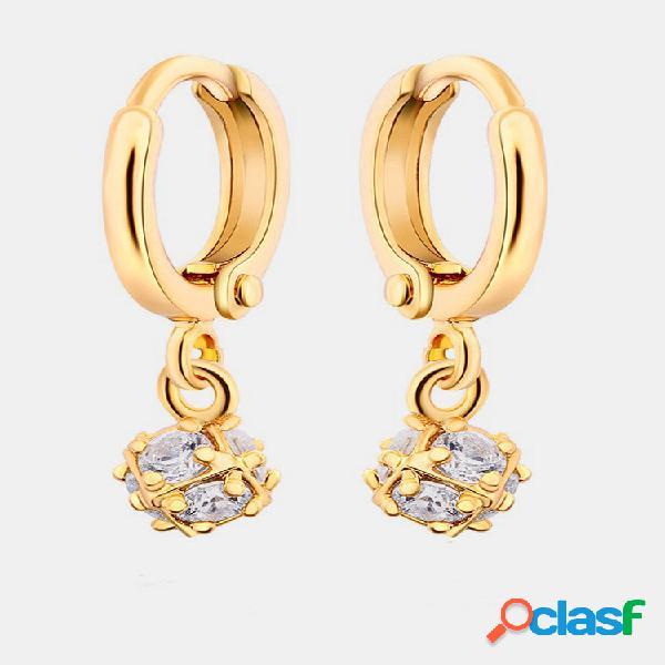 Moda orelha drop brincos bola irregular ziron banhada a ouro encanto brincos joias elegantes para mulheres