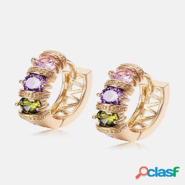 Moda orelha stud brincos banhado a ouro colorful ziron hollow brincos joias elegantes para mulheres