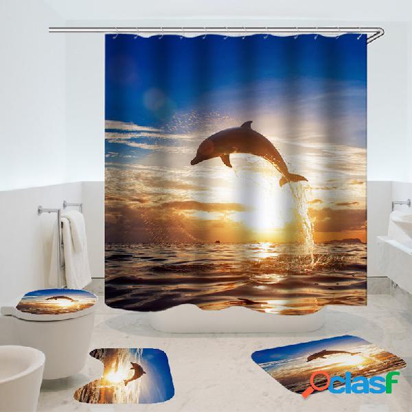 Cortina de chuveiro impermeável do teste padrão do golfinho cortina de oceano impermeável do acessório 3d da tela da cor