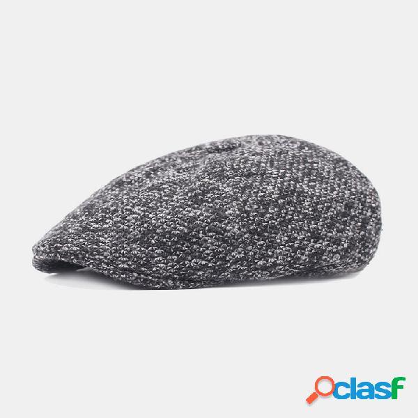 Men orelha proteção inverno exterior cor sólida casual universal plus boina engrossar chapéu tampa plana