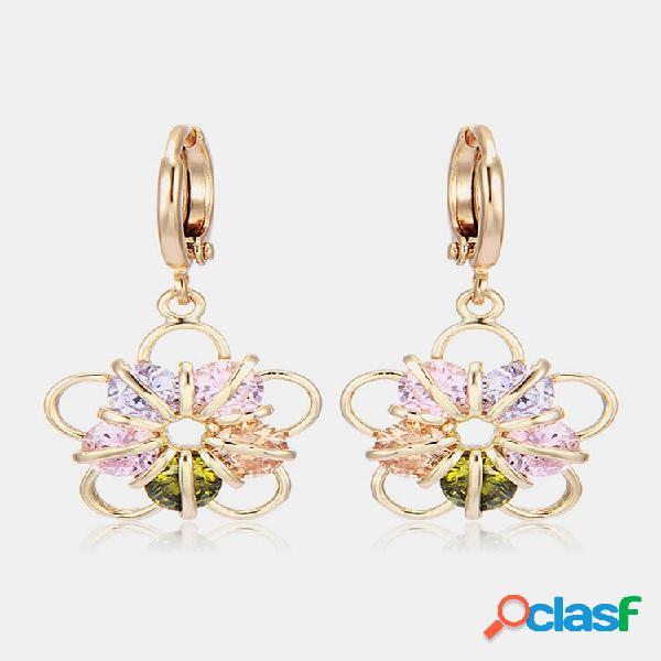 Moda orelha drop brincos banhado a ouro colorful ziron flower encanto brincos joias elegantes para mulheres