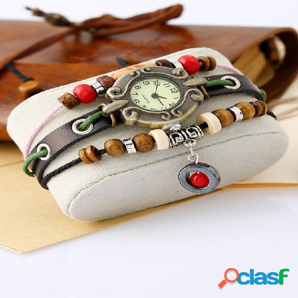 Quartzo feminino multicamadas vintage watch pulseira ajustável de couro com miçangas watch