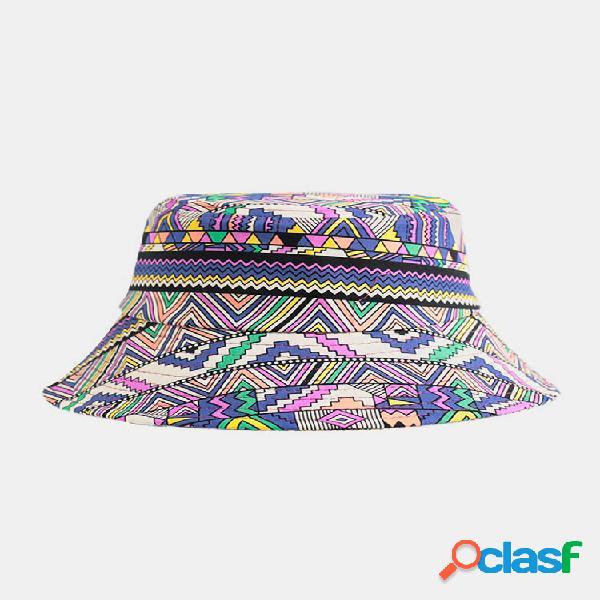 Algodão unissex colorful geométrico abstrato padrão impressão balde moda chapéu