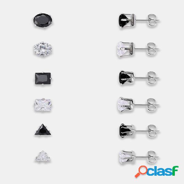 12 unidades black e branco banhado a prata zircão geométrica orelha parafuso prisioneiro orelha acessórios