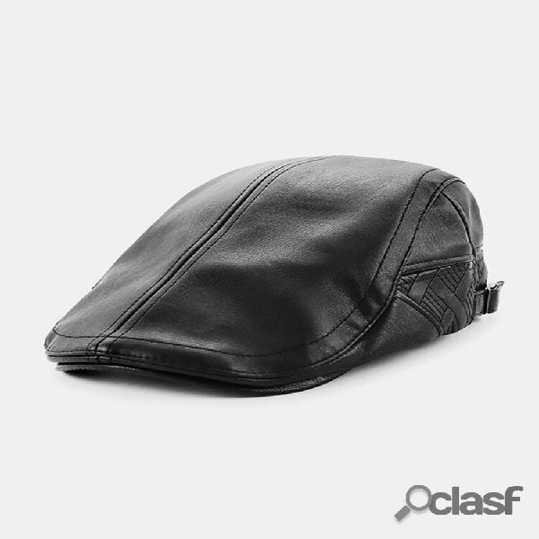 Homens couro genuíno cor sólida mantenha aquecido plus veludo para frente chapéu boina chapéu