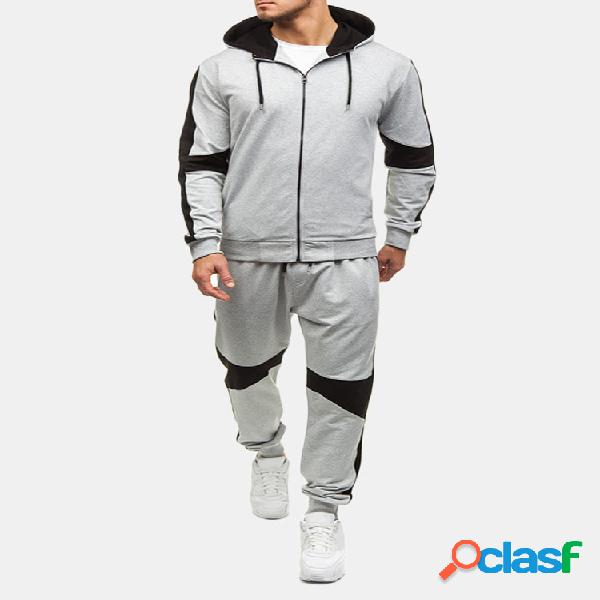 Mens casual sport patchwork hit color running hooded fashion suit