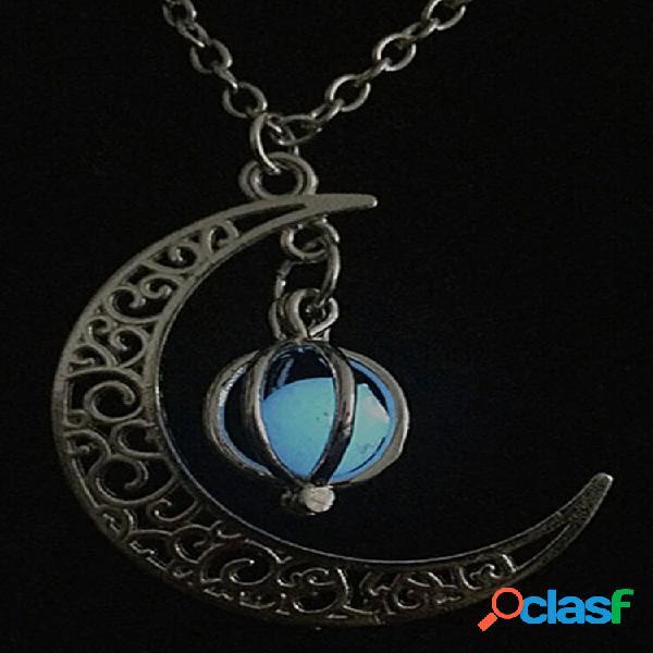 Moda halloween colar luminoso unissex lua abóbora oco pingente colar jóias presentes