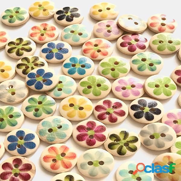 100 unidades bonitas flores impressas de 15mm de madeira botões acessórios de roupas infantis botões