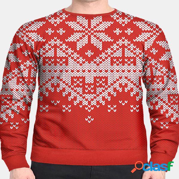 Homens natal neve impresso manga longa camisola casual slim fit camisola pulôver grosso