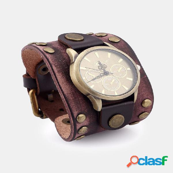 Relógio retro vintage masculino pulseira punk de couro