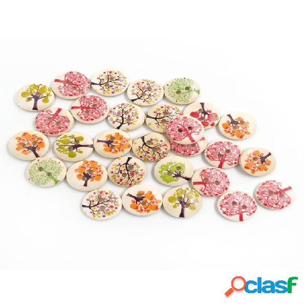 100 unidades 15 mm árvores frutíferas impressão de madeira botões materiais de costura faça você mesmo artesanal