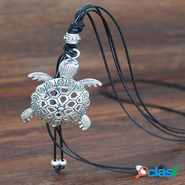 Colar de couro de veludo animal vintage metal oco tartaruga cabeça de touro animal geométrico elefante folha pingente co