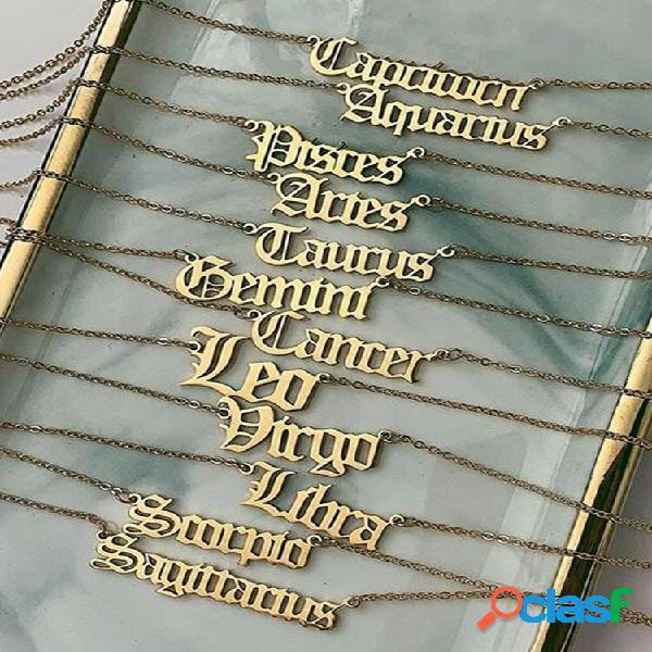 Colar retro metal 12 constellation pingente colar geométrico oco alfabeto inglês corrente