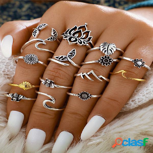 Conjunto de anéis ajustáveis de girassol com 15 peças de metal vintage oco para sereia e folhas geométricas