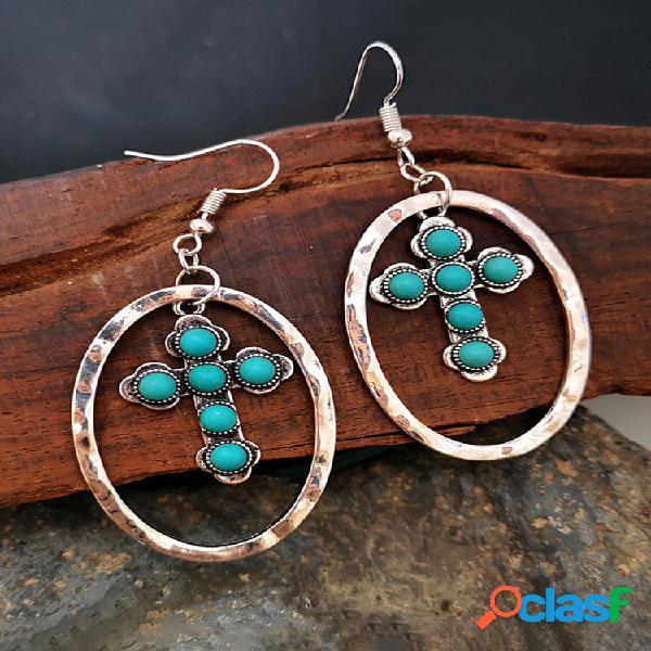 Vintage turquesa cross brincos metal geométrico oco turquesa pingente brincos
