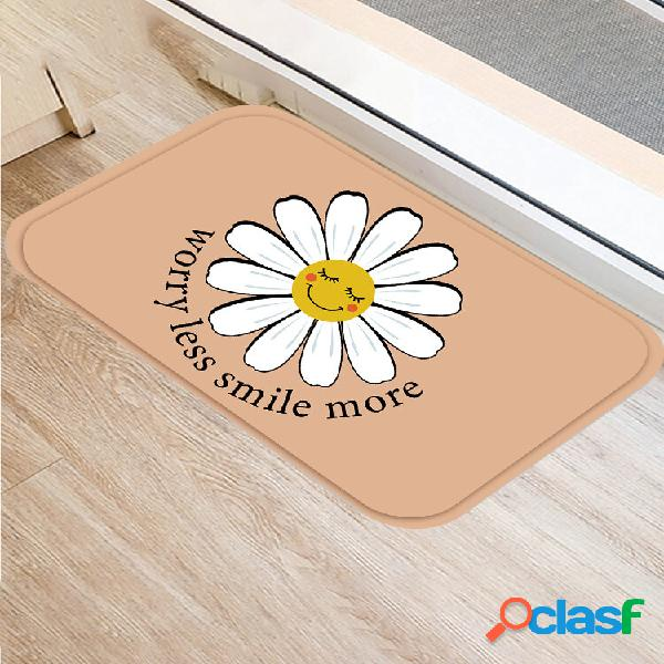 1 pc flanela desenho animado margarida sorriso padrão antiderrapante decoração da casa soft tapete tapete para porta de