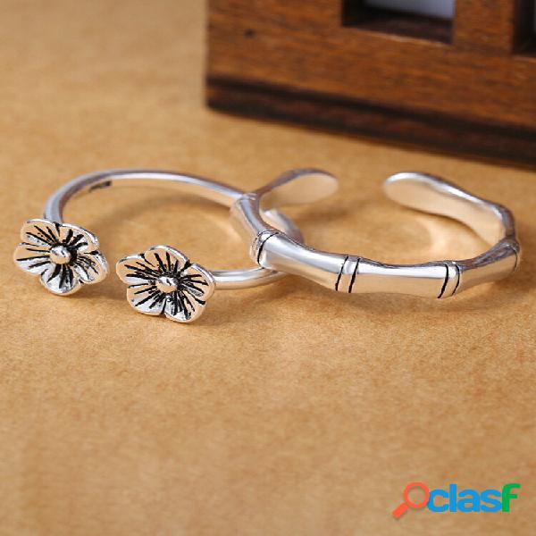 Anéis de prata antigos étnicos vintage flor de ameixa bambu abrindo anéis de dedo ajustáveis para mulheres